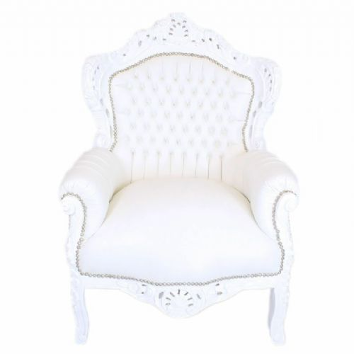 ARMCHAIR - BAROQUE STYLE ARMCHAIR WHITE & WHITE FAUX LEATHER # F30MB140